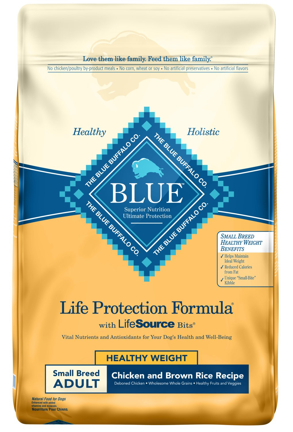 Blue Buffalo Life Protection Formula Healthy Weight Small Breed Dog Food Natural Dry Dog Food for Adult Dogs Chicken and Brown Rice 15 lb. Bag