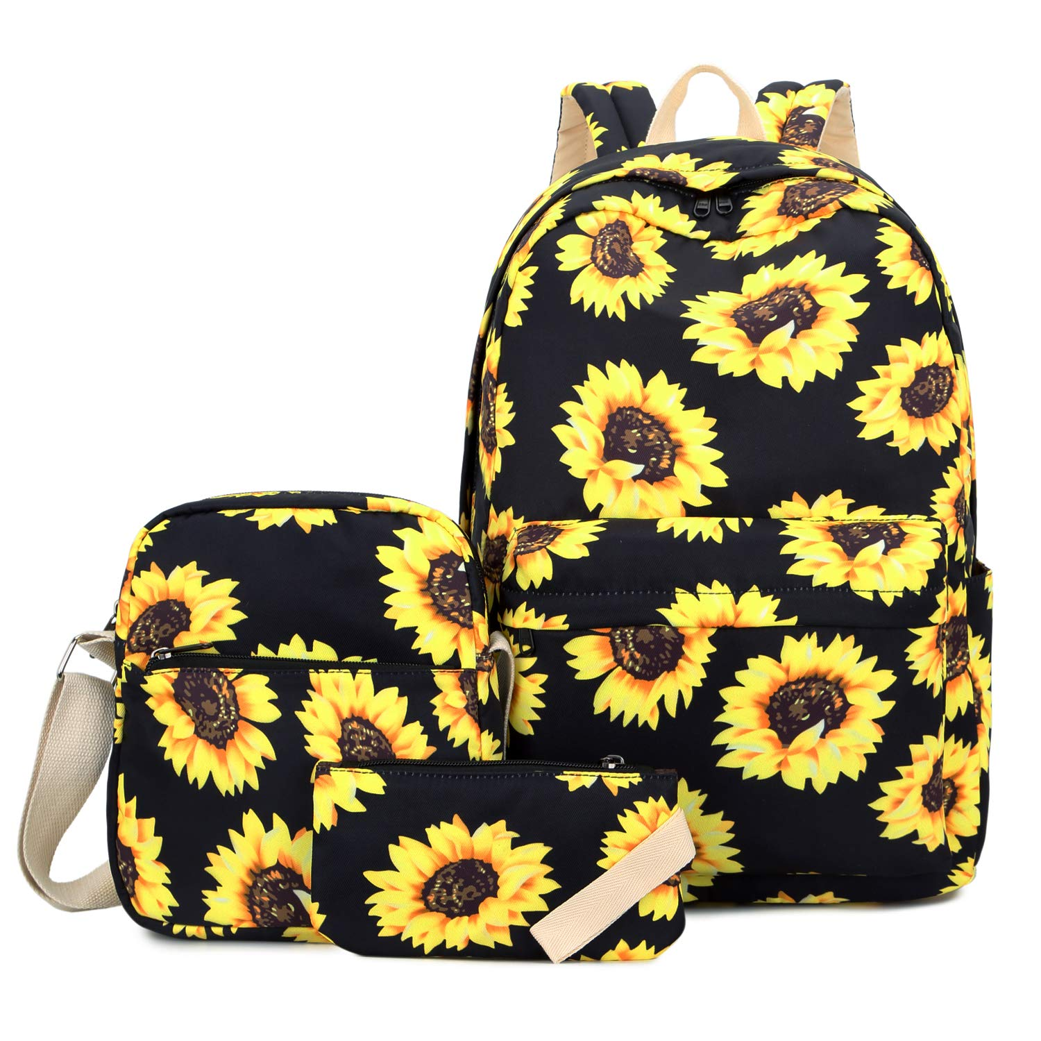Floral Laptop Backpack, FLYMEI School Backpack for Girl, Teens Backpack with Single-shoulder Bag & Pencil Bag, Travel Casual Daypack for Women, Sunflower Kids' Backpack by FLYMEI