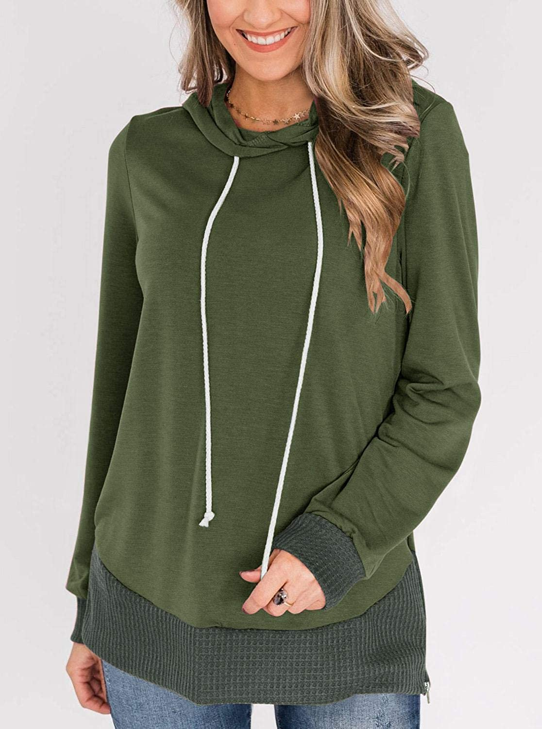 PINKMSTYLE Womens Color Block Hoodie Sweatshirts Tunic Pullover Tops Long Sleeve Drawstring Shirts