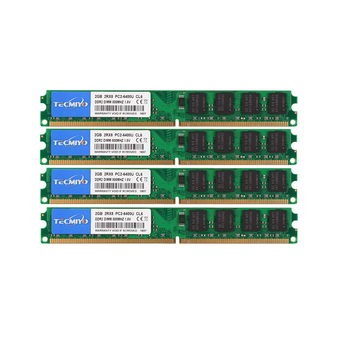 Memoria Ram 8gb Tecmiyo Kit (4x2gb) Ddr2 800mhz Pc2-6400 Pc2-6400u Non Ecc Unbuffered 1.8v Cl6 2rx8 Dual Rank 240 Pin Ud