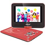 ieGeek 9.5'' Portable DVD Player with 5 Hour Rechargeable Battery, Supports SD Card and USB, with 75'' Car Charger and Game Joystick, Perfect for Kid and Road Trip (Red)