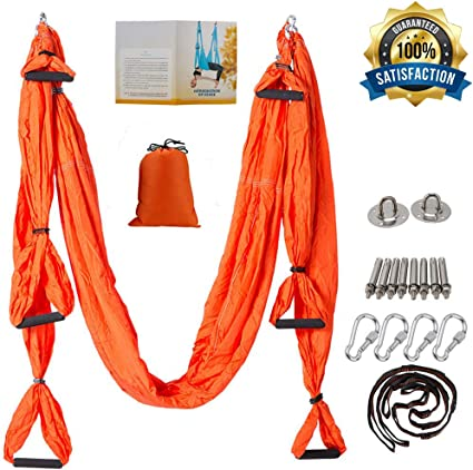 oremila Aerial Yoga Swing/Sling Kit/Trapeze for Back Pain Relief, Antigravity Yoga Hammock with Daisy Chains, Heavy Duty Carabiners, Hanging Straps ...
