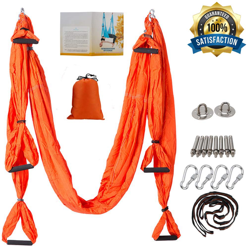 oremila Aerial Yoga Trapeze / Swing / Sling Kit for Back Pain Relief, Antigravity Yoga Hammock with Daisy Chains, Heavy Duty Carabiners, Hanging Straps and Thick EVA Handles