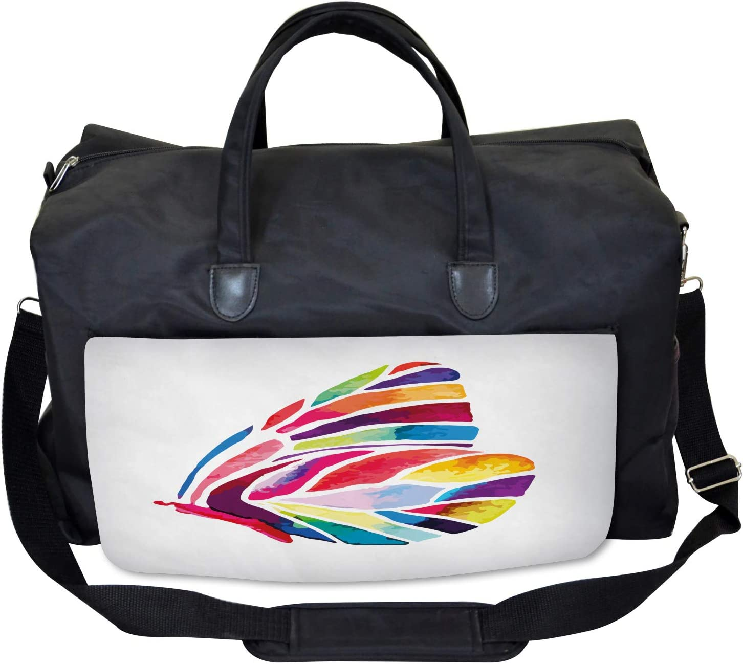 Large Weekender Carry-on Colored Butterfly Ambesonne Multicolor Gym Bag