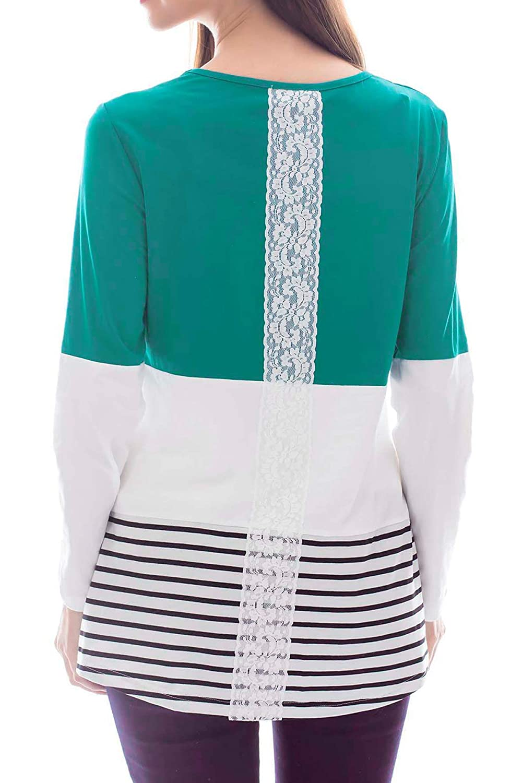 Smallshow Damen Stillshirt Umstandsmode Umstandsshirt Langarmshirt Schwangerschaft Kleidung Umstanstop Streifen