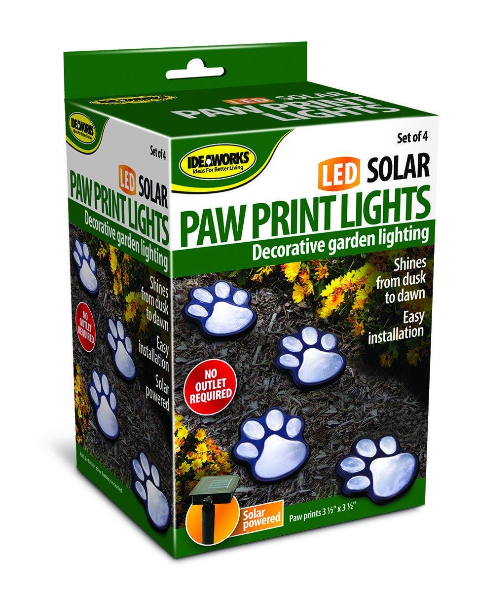 NICE 4 solar dog animal paw print Lights garden lantern LED path 3 ...