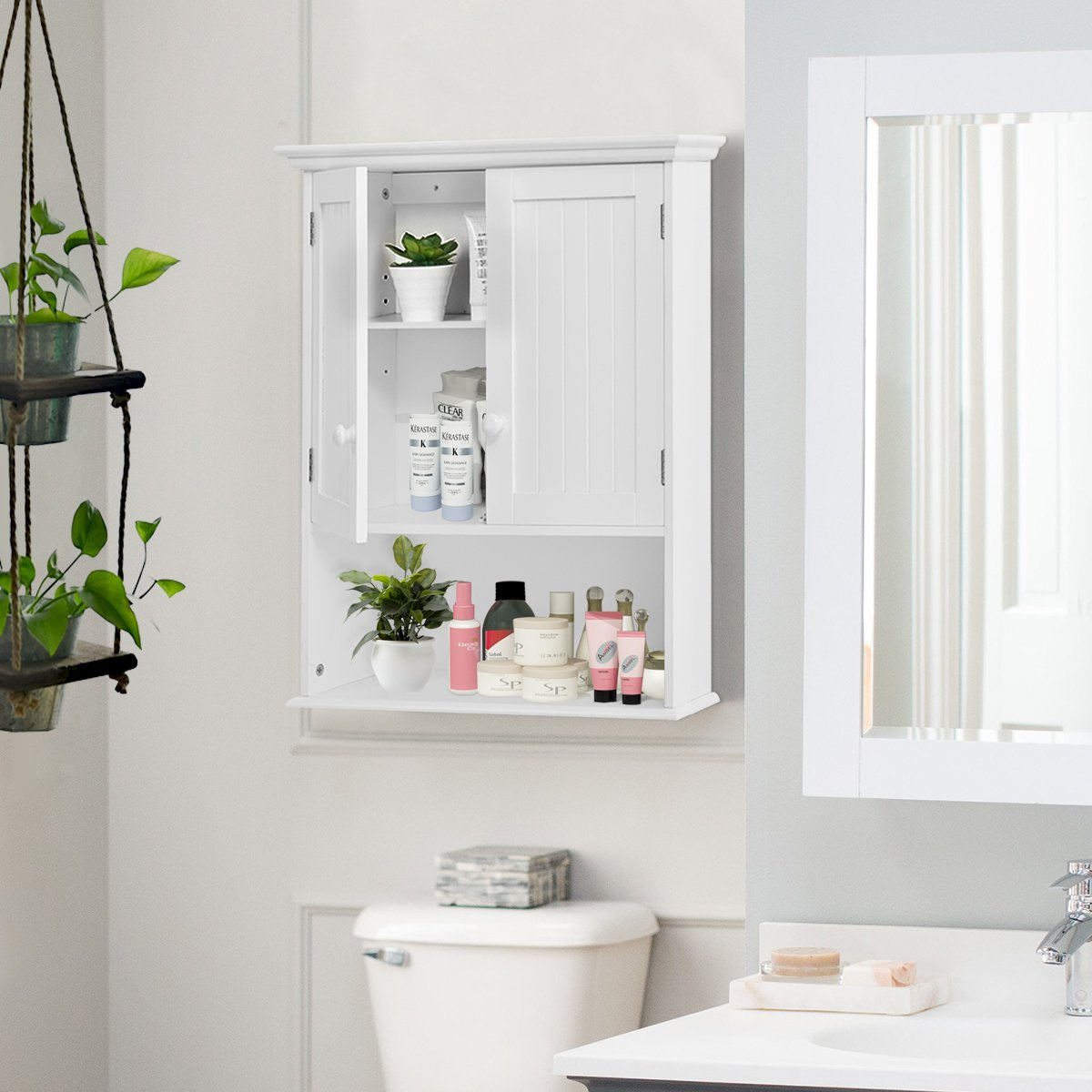 Amazon.com: Tangkula Wall Mount Bathroom Cabinet Storage Organizer ...
