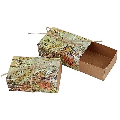 TODO el mundo mapa mundial de papel caja de Favor cajas de caramelos cajas de boda