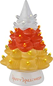 "Mr. Halloween 12"" Ceramic Tree with Candy Corn Topper Halloween Décor, Orange"