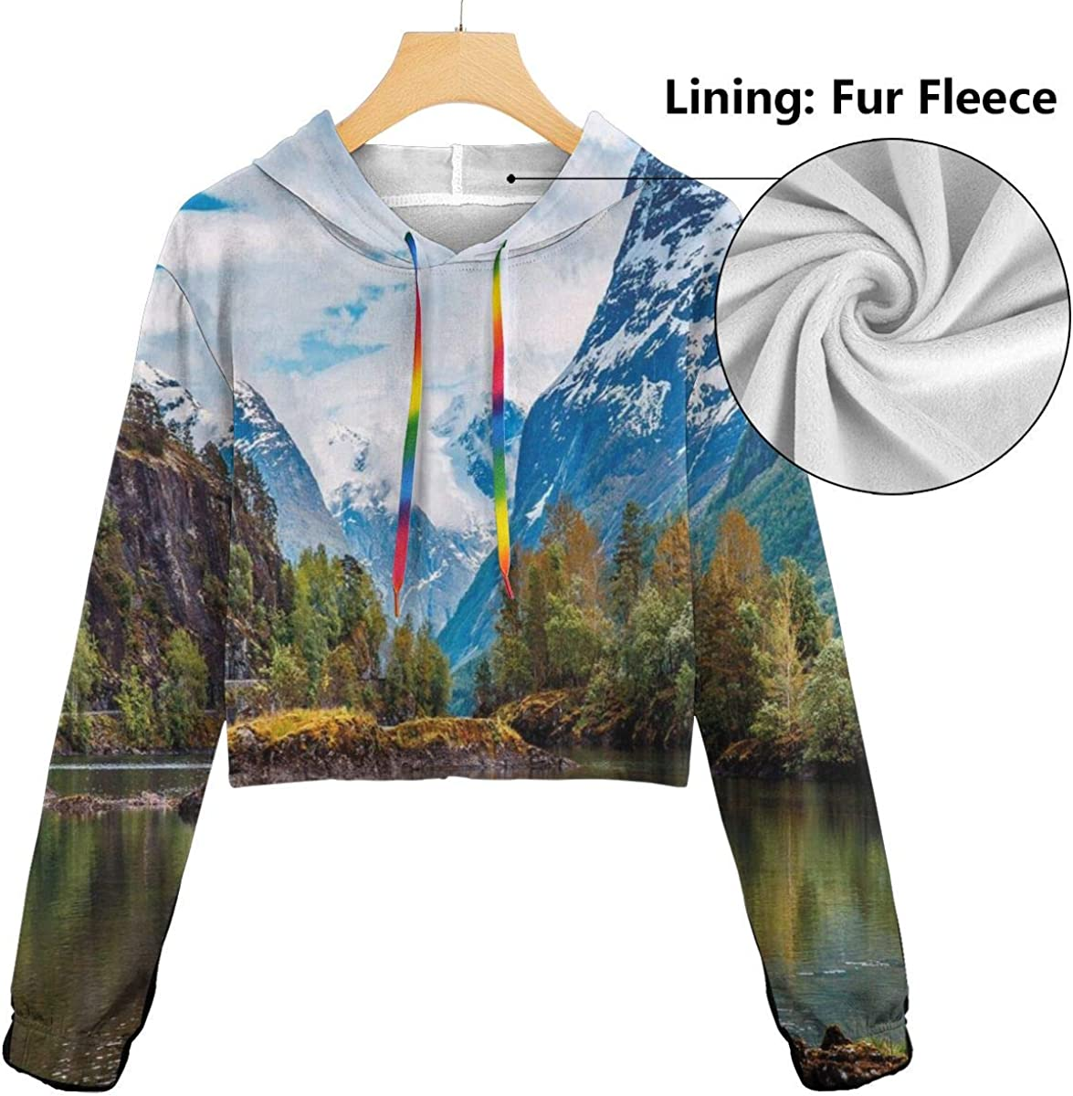 Womens Cropped Hoodie,Norway Mountain Range with Snowy Peaks by The Lake Fishing Nordic Northern Landscape,S-XL