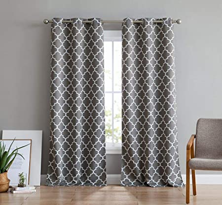 HLC.ME Moroccan Lattice Print Thermal Insulated Room Darkening Blackout  Grommet Window Curtain Panels for Bedroom - Set of 2-37 W x 84 L - Grey