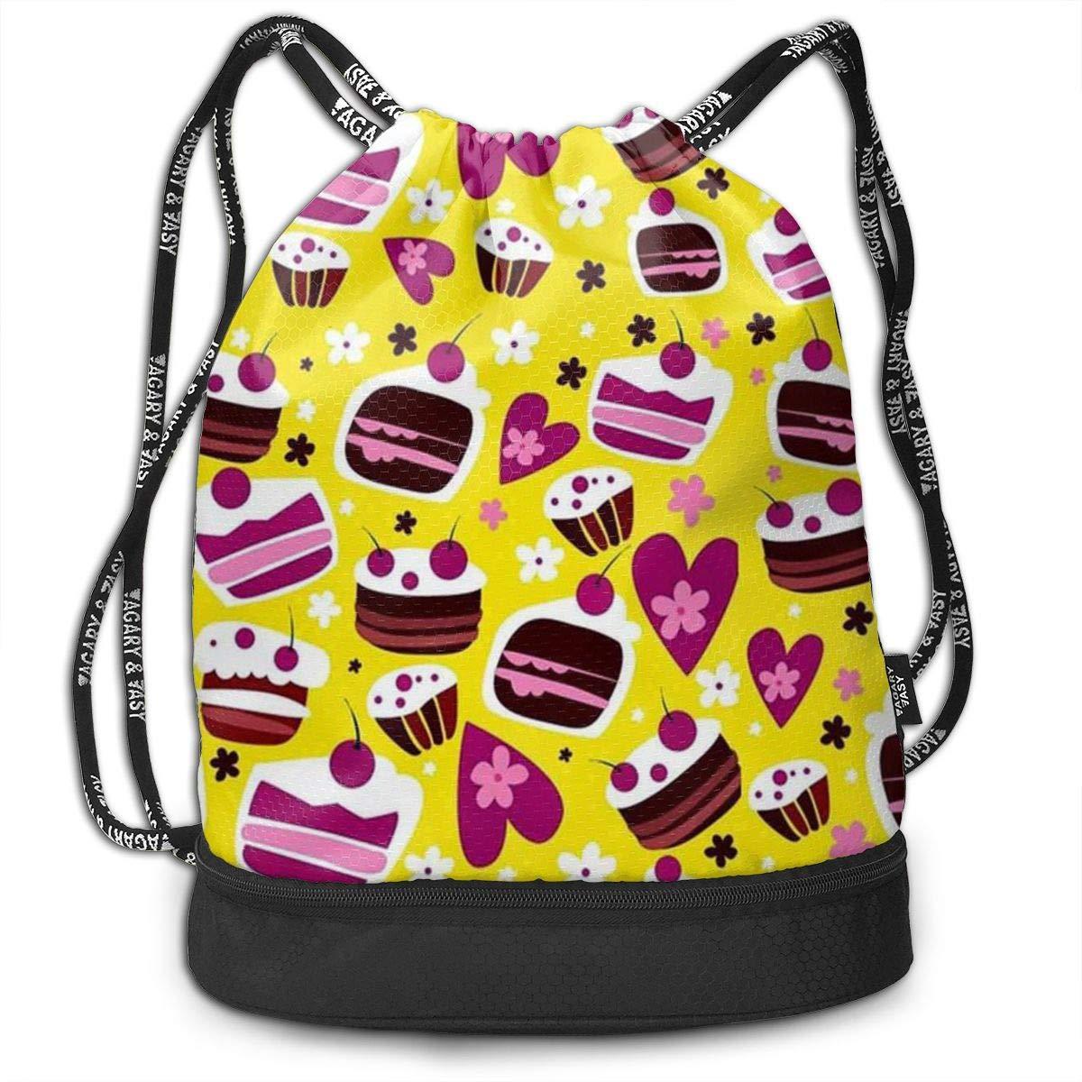 HUOPR5Q Sweet Cakes Drawstring Backpack Sport Gym Sack Shoulder Bulk Bag Dance Bag for School Travel
