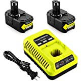 Energup Replacement 2Pack 6.0Ah Ryobi 18V Lithium Battery for Ryobi 18-Volt ONE+ P104 P105 P102 P103 P107 P108 with Replaceme