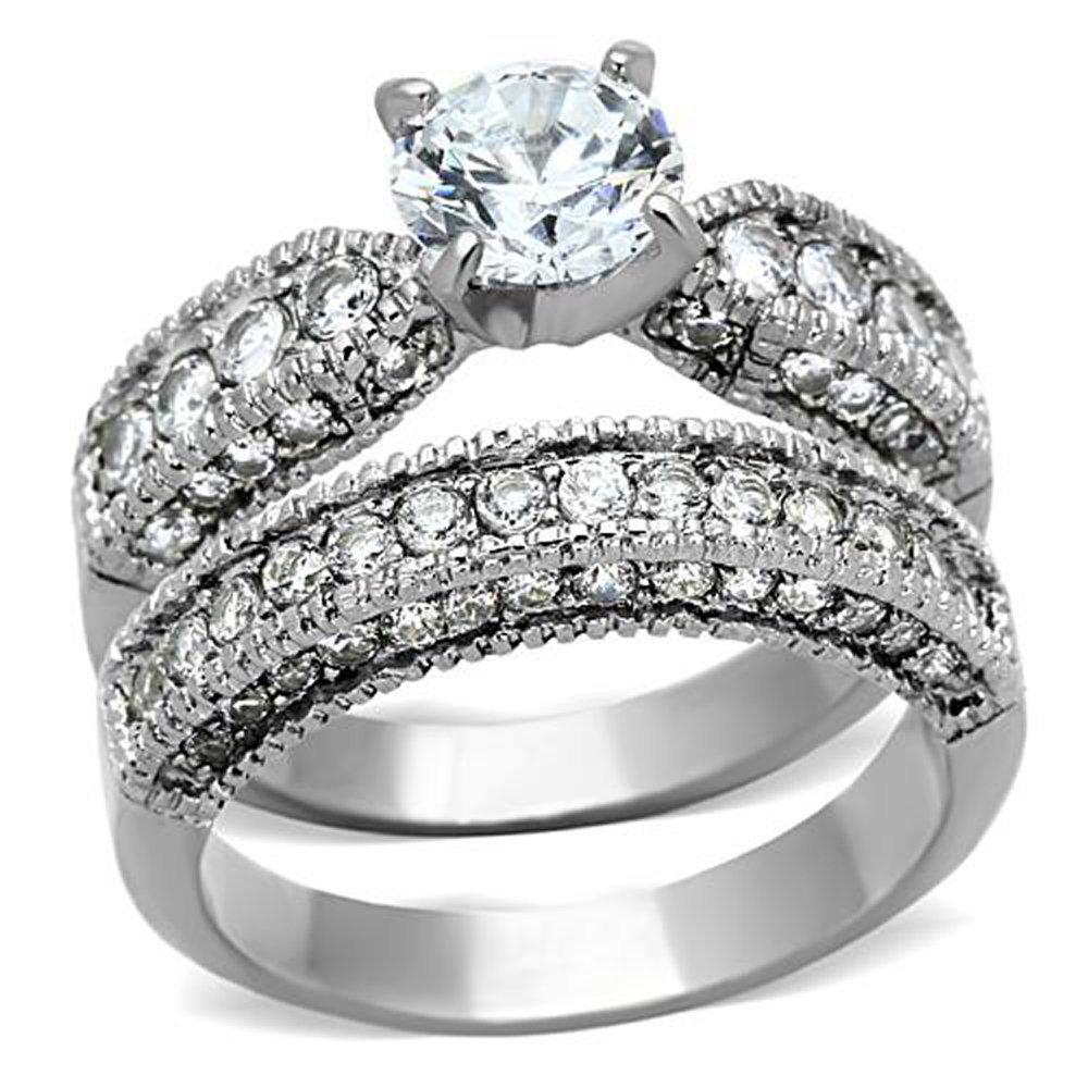 FlameReflection Vintage Style Stainless Steel CZ Bridal Wedding Ring Set Size 5-10 SPJ