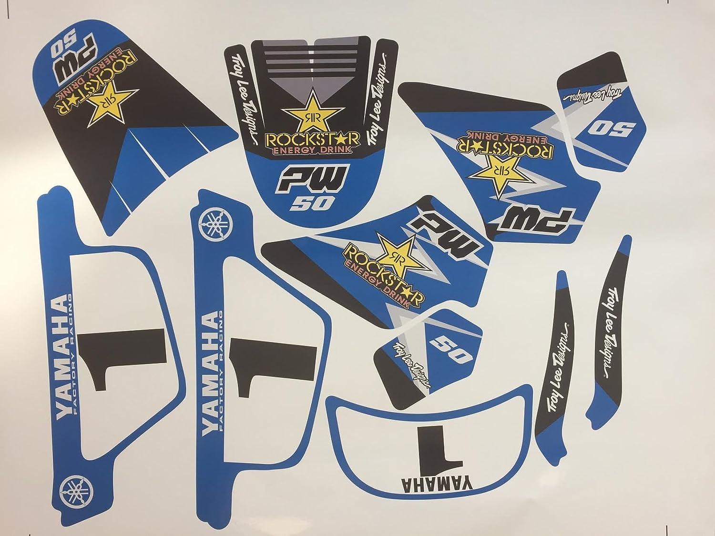 Offert 2 Stickers MXSPIRIT Autocollant Kit Deco Rockstar Original pour Yamaha PW 50 Bleu PW50 Piwi Qualit/é Standard