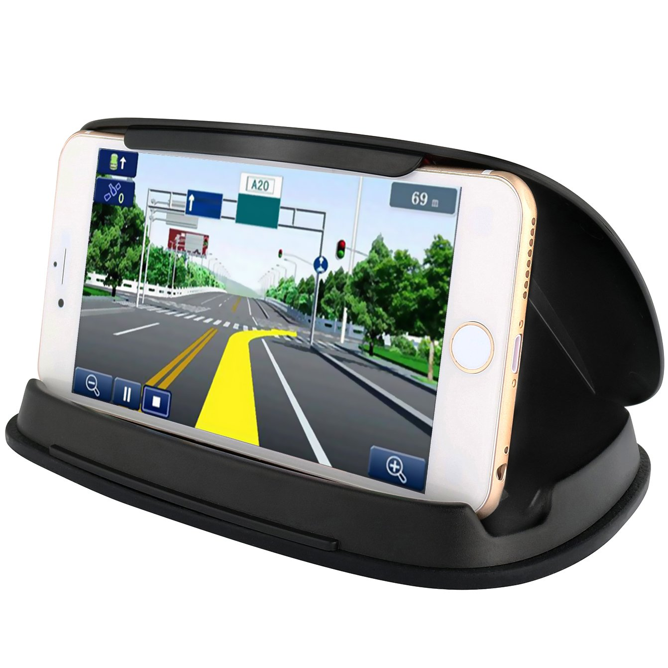 Cell Phone Holder for Car, Car Phone Mounts for iPhone 7 Plus, Dashboard GPS Holder Mounting in Vehicle for Samsung Galaxy S8, and other 3-6.8 Inch Universal Smartphones and GPS - Black