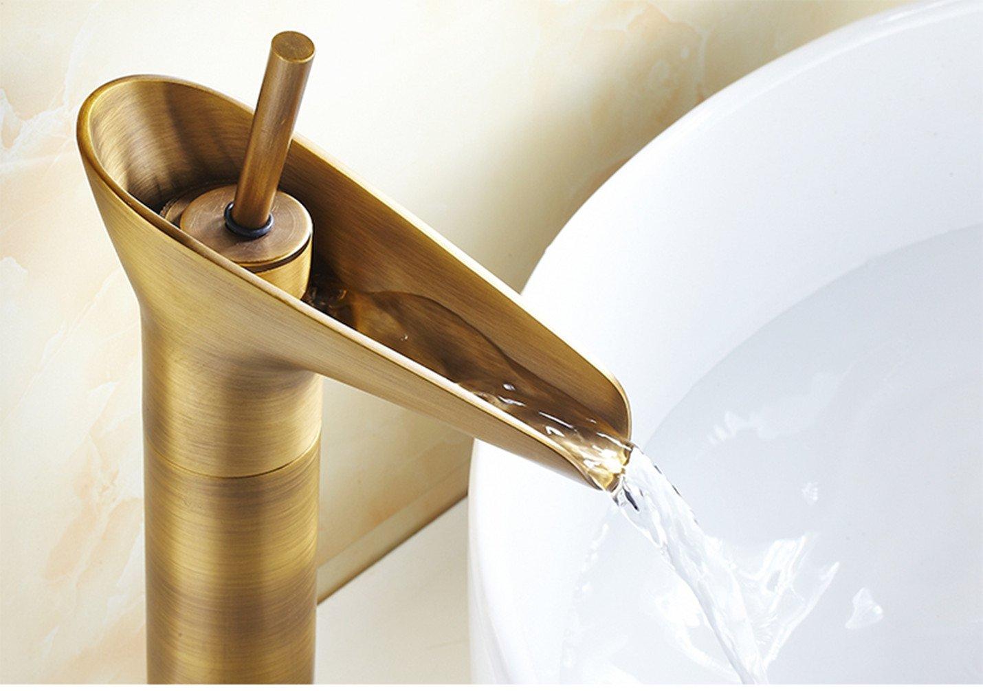 tenthome Retro Salle de Bain Robinet Cascade Mitigeur Robinet de lavabo en laiton ancien Mitigeur lavabo Batterie