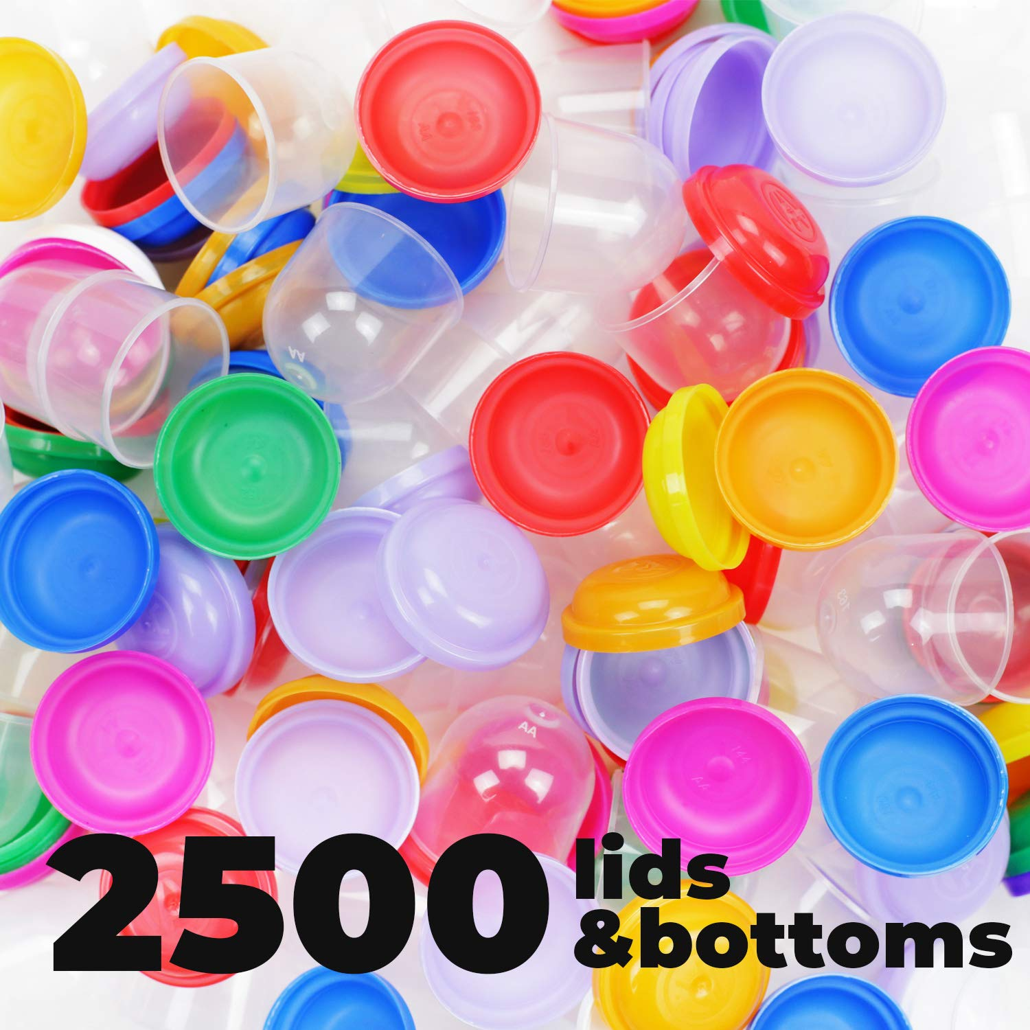 Toy Empty Capsules 1.1'' 2500 pcs Bulk 8 COLORS Acorn Capsule for Toy Gumball Machines Small Clear Containers Surprise for Kids Party Favor Prize Colorful Plastic Container Storage for Toys by Entervending (Image #3)