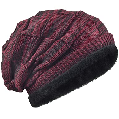 57bef7dc3b0ba Men Knit Beanie Hat Thick Fleece Lined Winter Skull Cap B5050  (Multi-Claret)  Amazon.in  Clothing   Accessories