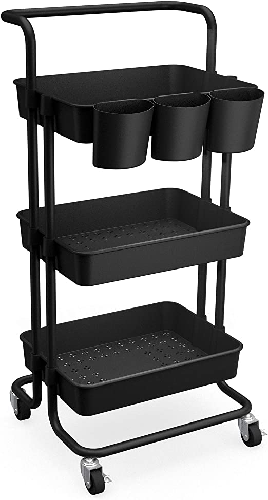 CAXXA 3-Tier Rolling Storage Organizer with 3 Small Baskets and Handle - Mobile Utility Cart with Caster Wheels (Black)