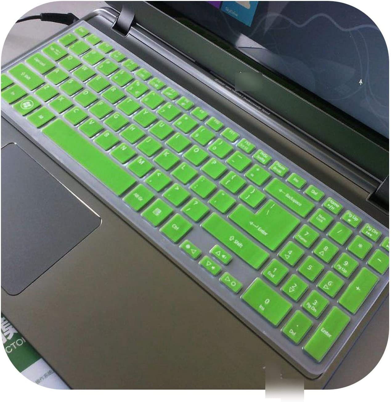 for Acer Aspire M5 581T M3 581T M5 581G V5 551G V5 573G V5 552 V5 531P V7 582 15/17 Inch Silicone Keyboard Skin Cover Protector-Green-