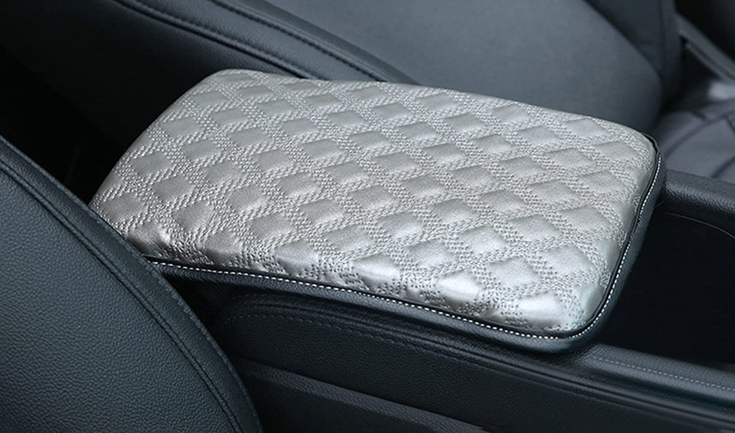 Car Armrest Seat Box Cover Protector Universal Fit Alusbell Auto Center Console Pad C-Beige