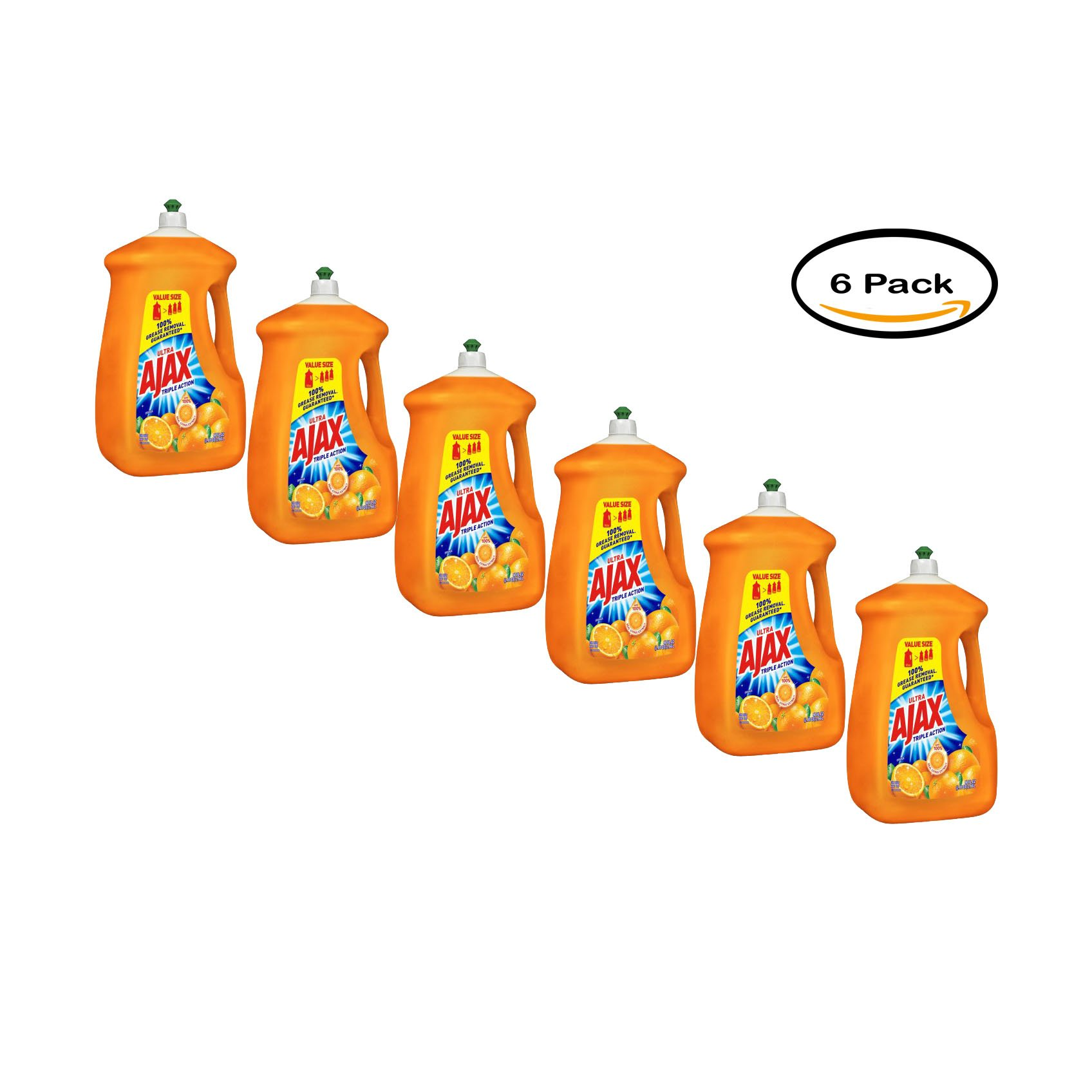 Pack of 6 - Ajax Ultra Triple Action Liquid Dish Soap, Orange - 90 fl oz