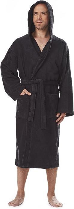 Arus Men s Classic Hooded Bathrobe Turkish Cotton Terry Cloth Robe  (S M 4073e3118
