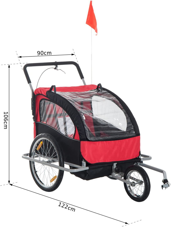 Kids/' Bicycle Trailer 30 kg Stroller Jogger Pushchair Suitable for 1//2 Children