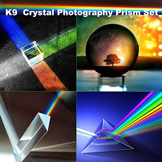 K9 Crystal Optical Glass Conical Prism 10mm  for Teaching Light Spectrum Physics