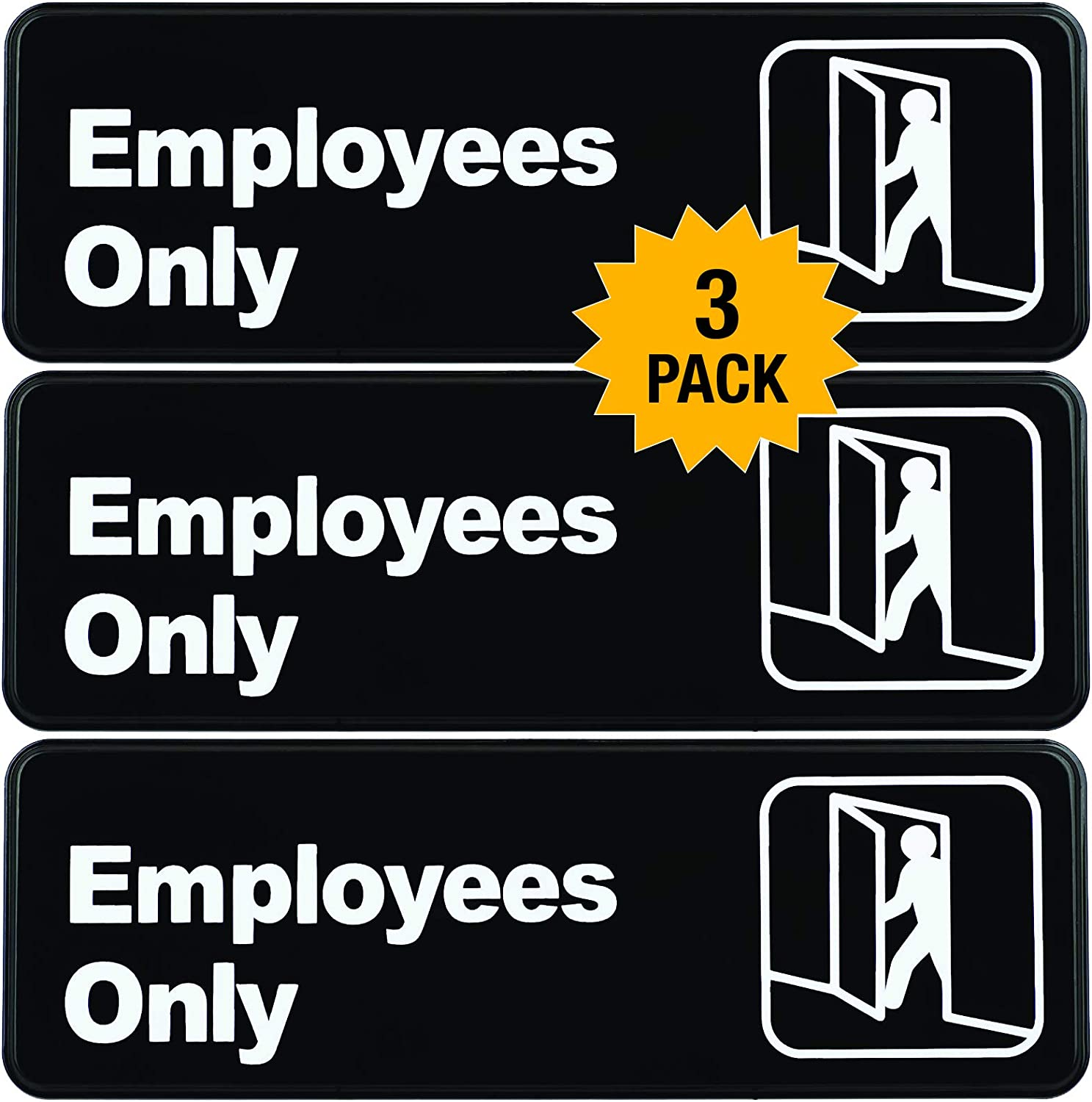 """Employees Only Sign: Easy to Mount Informative Plastic Sign with Symbols 9""""x3"""", Pack of 3 (Black)"""