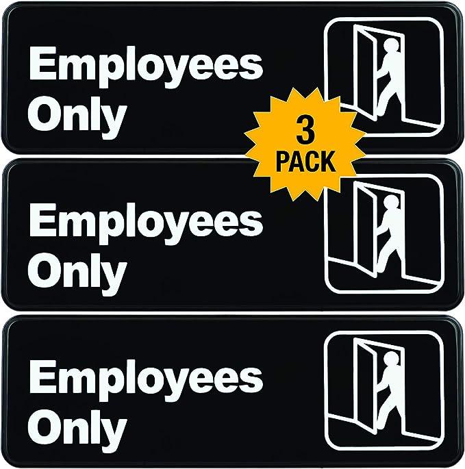 Amazon.com: Letrero de plástico con símbolos para empleados ...