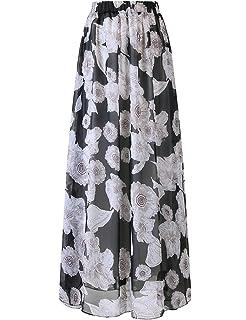 2cd74c37df DRESSTELLS Women's Long Floral Print Maxi Chiffon Polka Dots Long Vintage  Skirts