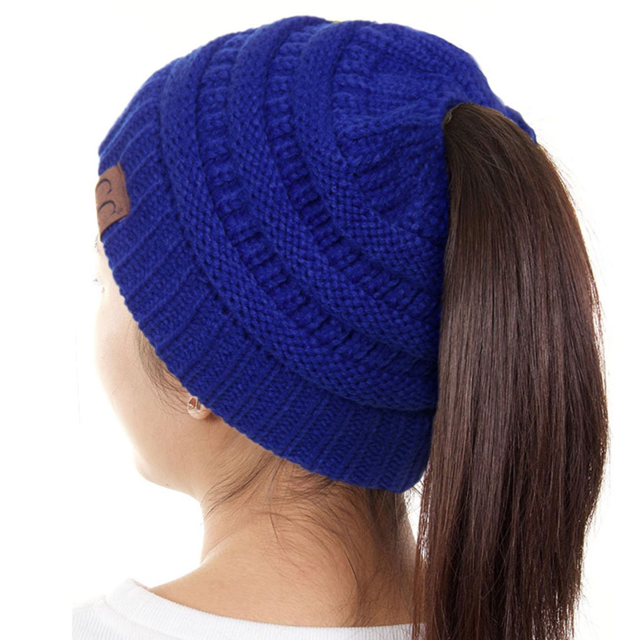 ScarvesMe C.C Beanietail Ponytail Messy Bun Solid Ribbed Beanie Hat Cap (Royal Blue)