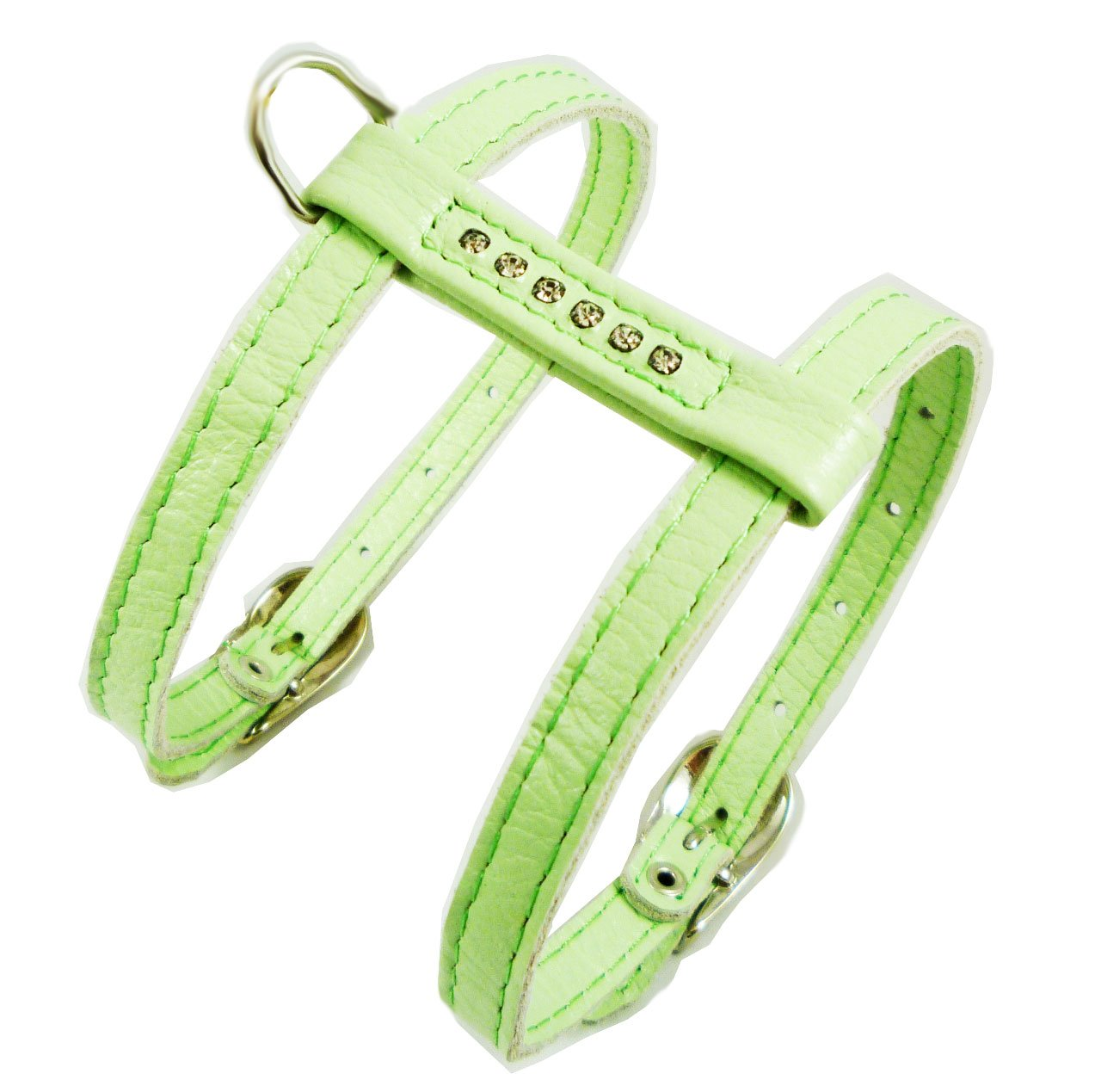 Genuine Leather Dog Harness for Toy Breeds X-small. 10 -13  Chest Circumference Rhinestones (Green)