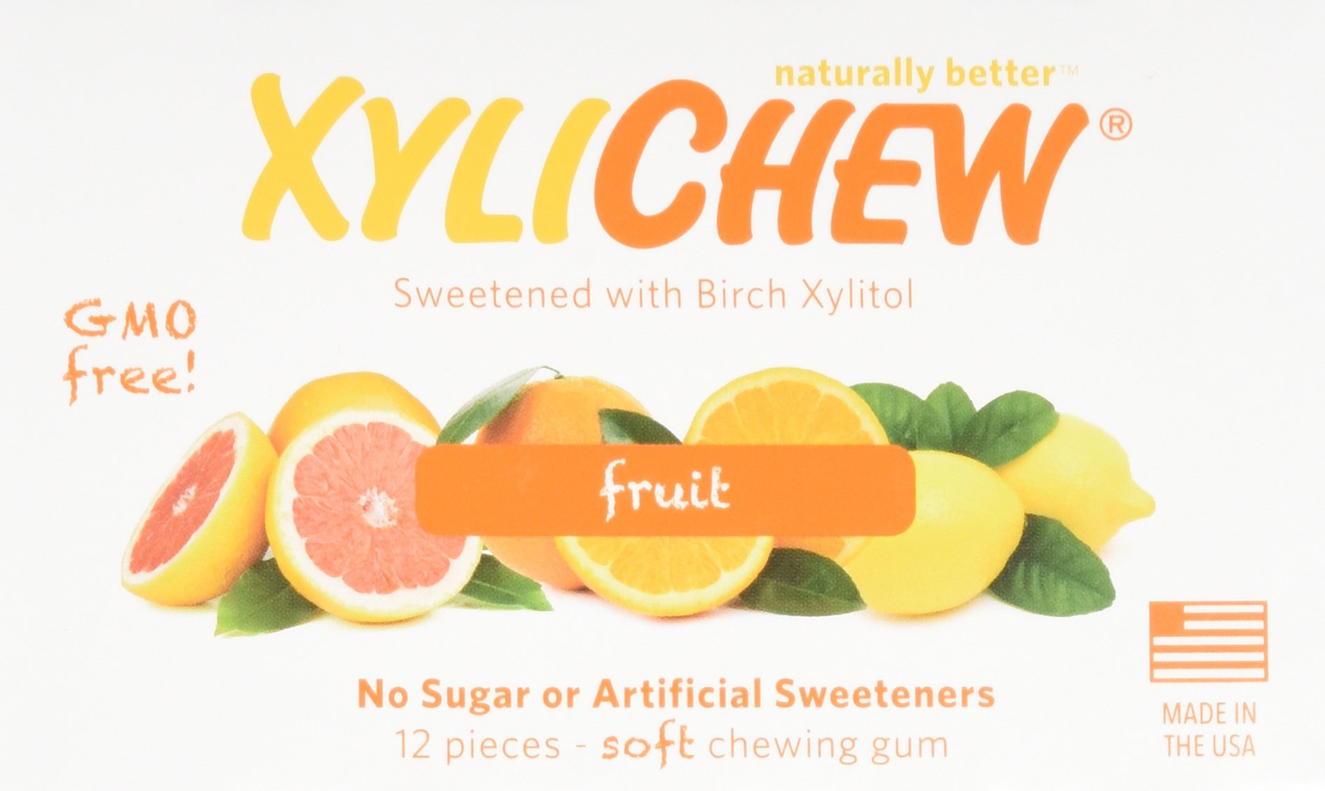 XyliChew Sugar Free Chewing Gum, Fruit, 12-Count Packages (Pack of 24)
