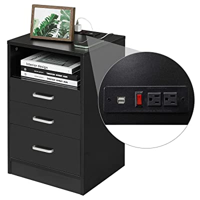 Buy Adorneve Black Nightstand 3 Drawers With Usb Port Bedroom End Table Side Table Wooden Sofa Side Stand Cabinet With Sliding Drawer Open Storage Online In Indonesia B08qry92nb