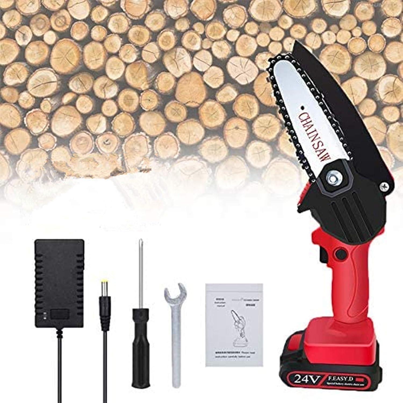 TTLIFE Mini motosierra eléctrica de 4 pulgadas, potente sierra de cadena eléctrica para cortar madera de jardín, podadora de ramas y herramientas de jardinería