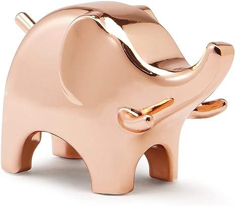 Elephant Ring Holder Copper Coated Ceramic Animal Ring Display Jewellery Holder