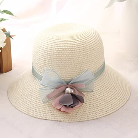 Gorras Visor Ms Verano protección Solar Sombrero Flor Perla Vacaciones Sombrero de Paja Plegable Sombrero del