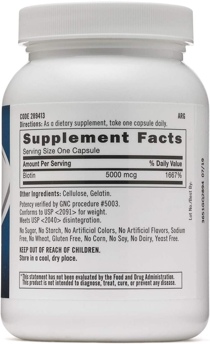 GNC Biotin 5000 MCG, 240 Capsules, Supports Healthy Hair, Skin and Nails