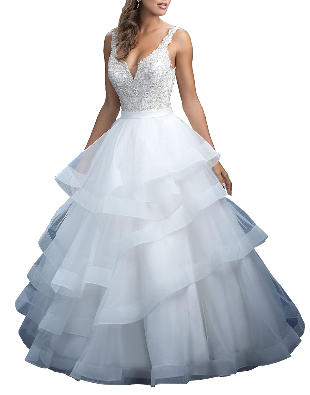 YORFORMALS Women\'s V-Neck Ball Gown Organza Wedding Dress Tiered ...