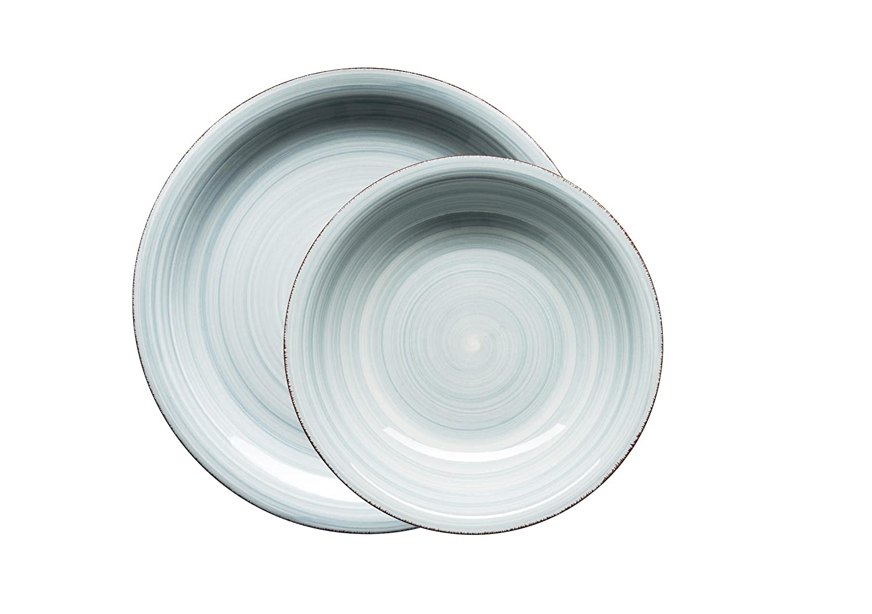 in der Farbe Hellblau f/ür 2 Personen M/äser Serie Bel Tempo handbemaltes Keramik Fr/ühst/ücksset 6-teilig