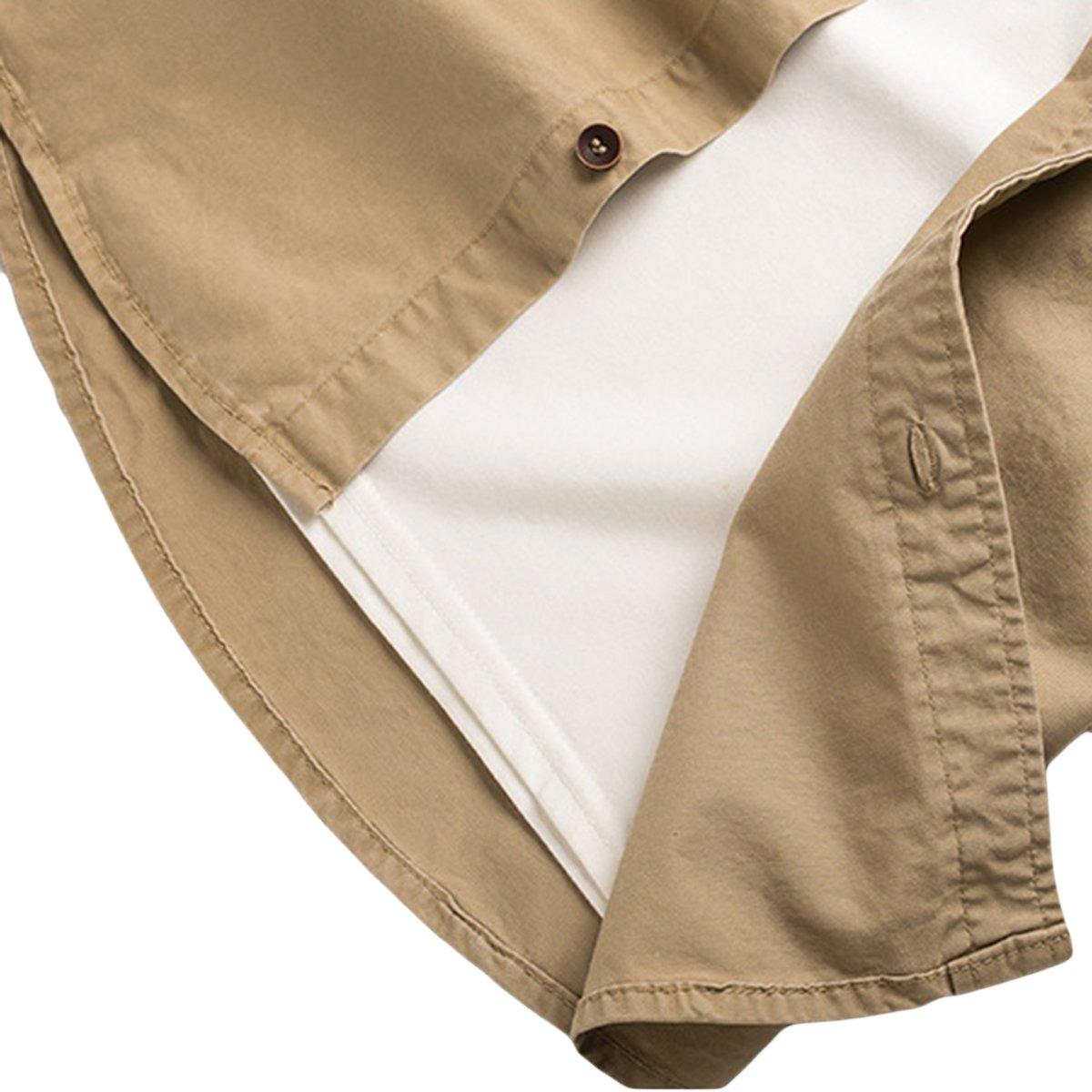 Earlish Mens Western Shirt Long Sleeve Button Down Solid Flap Pocket Work Shirt