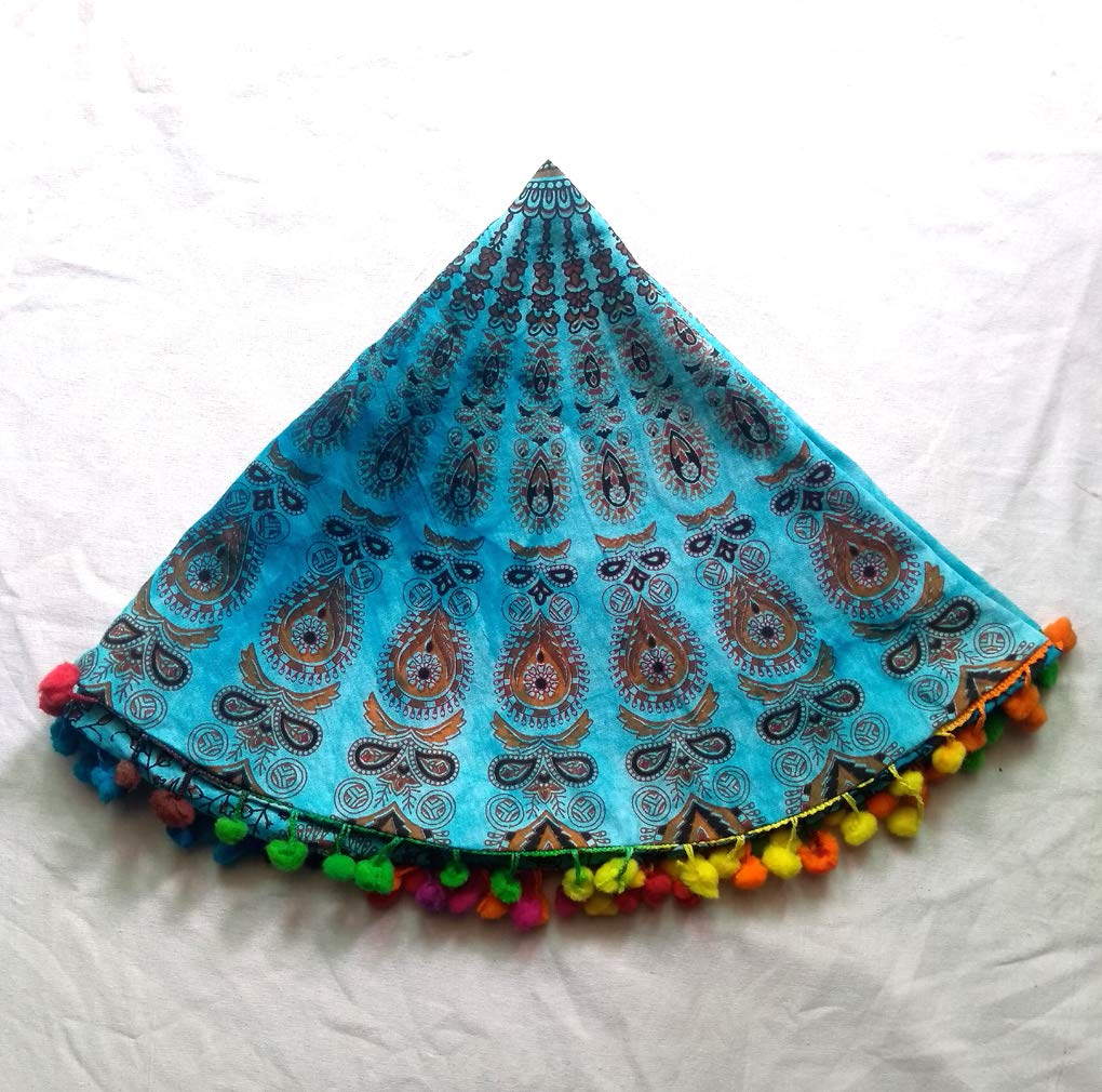 Shubhlaxmifashion 32' Blue Mandala Floor Pillow Cushion Seating Throw Cover Hippie Decorative Bohemian Ottoman Poufs, Pom Pom Pillow Cases,Boho Indian SHDP01