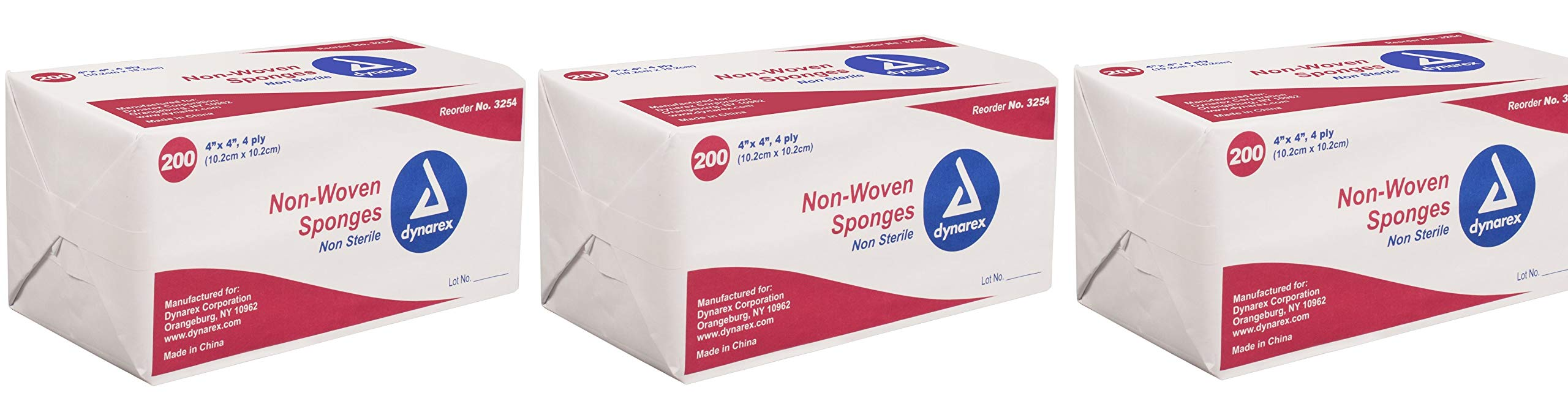 Dynarex Non-Sterile Non Woven Sponge, 4x4 Inch, 200 Count (Pack of 3) by Dynarex