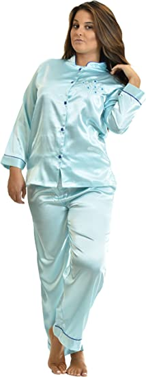 Ladies Charmeuse Satin 2 Piece Pyjamas Ivory Sizes 10-28