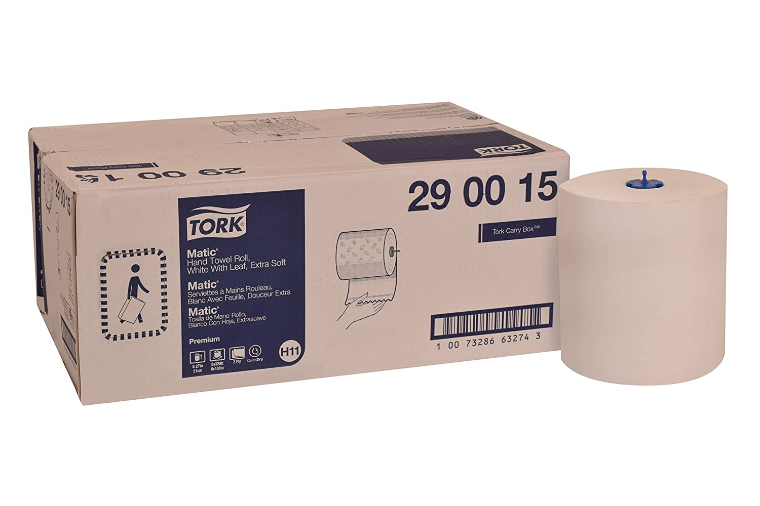 Tork 290015 Premium Extra Soft Matic Paper Hand Towel Roll, 2-Ply, 8.27