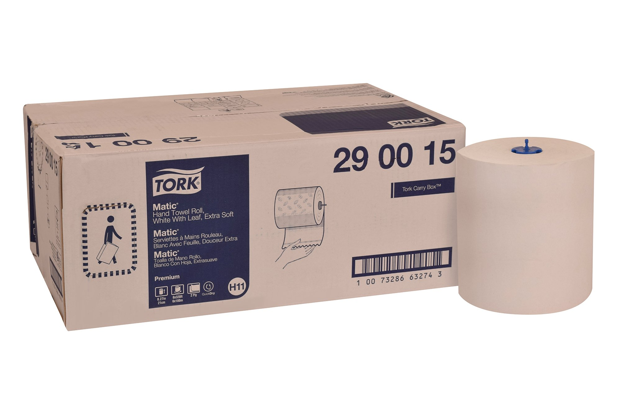 Tork 290015 Premium Extra Soft Matic Paper Hand Towel Roll, 2-Ply, 8.27'' Width x 328' Length, White with Blue Leaf Print (Case of 6 Rolls, 328 Feet per Roll, 1,968 Feet)