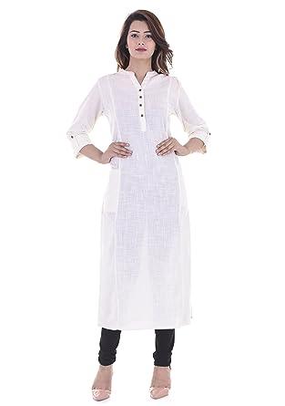 5154b5710c1 VAIDIKI White Color Plain Cotton Slub Long Pocket Kurti for Women s ...
